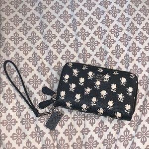 COACH black and white rose print zippy wallet